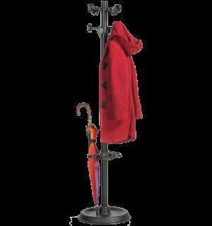 COATHANGER MB BLACK | Čierny vešiak na kabáty s držiakom na dáždnik