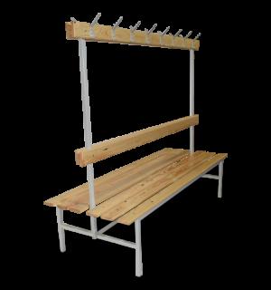 BRIDGE LL 1000 AH DOUBLE | Obojstranná šatníková lavica s opierkou, vešiakmi a dĺžkou 1000 mm