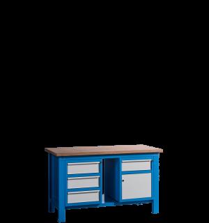 HWB MB 1500 D3CD | Pracovný stôl so skrinkou so zásuvkou a tromi zásuvkami