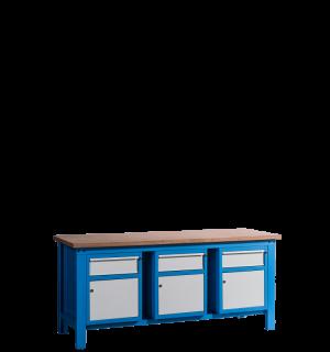 HWB MB 2000 CDCDCD | Pracovný stôl so skrinkou so zásuvkou na oboch stranách, aj v strede