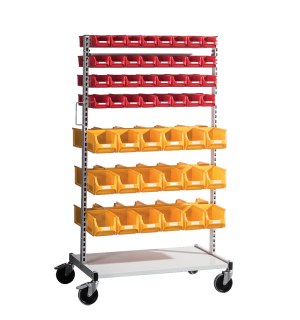 SORTISTAND ROLL 100   Stojan na kolieskach s 36+64 plastovými boxmi