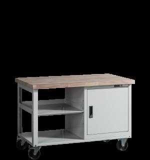VWB PK 1200 SC ROLL   Pracovný stôl na kolieskach s poličkou a skrinkou