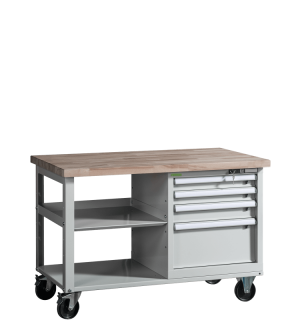 VWB PK 1200 SD4 ROLL   Pracovný stôl na kolieskach s poličkou a štyrmi zásuvkami