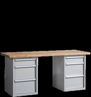 VWB PK 2000 D3D3   Pracovný stôl s tromi zásuvkami na oboch stranách