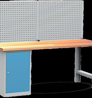 A-WB K 2000 1CL 1CR PW   Montovaný pracovný stôl s jednou skriňou a zadnou stenou
