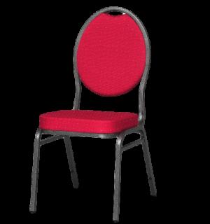 HALLSEAT MX ROUND AT/RD | Stuhl mit anthrazitem Metallgestell und schwarzer Bezug
