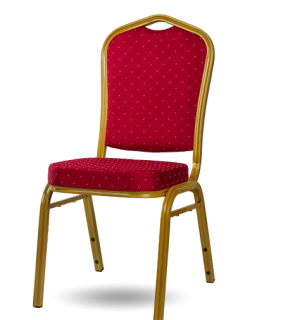 HALLSEAT MX STRONG GD/RD | Stolička so zlatým rámom a červeným poťahom