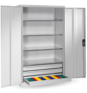 HUGECAB C 2000/1200/600 3D GY | Skladovacia skriňa s tromi zásuvkami, extra šírkou a hĺbkou